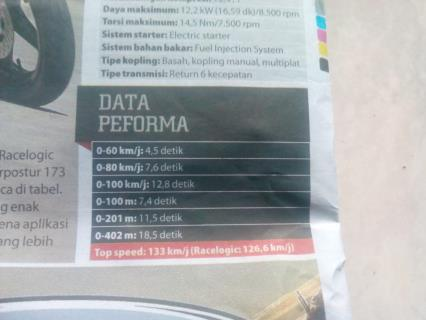 Data Perform Yamaha R15